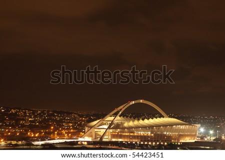 DURBAN - APRIL  5: the Moses Mabhida stadium at night ,april 5, 2010 Durban, South Africa in durban, South Africa - stock photo
