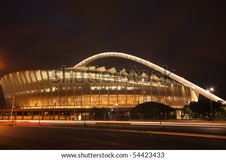 DURBAN - APRIL  5: the Moses Mabhida stadium of Durban photographed at night, april 5, 2010 in durban, South Africa - stock photo