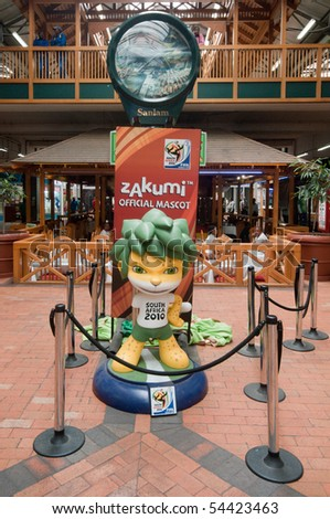 DURBAN - APRIL  5:  zakumi is the mascotte of the next soccer world cup, here a giant reproduction, april 5, 2010 Durban, South Africa - stock photo