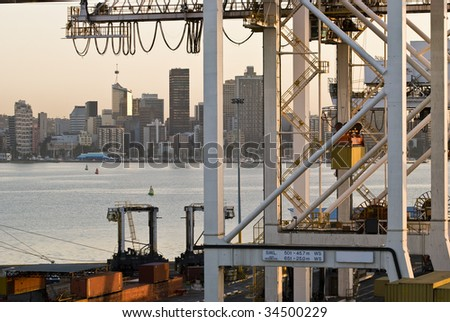 Durban Container Port - cranes. African Capitol in the background