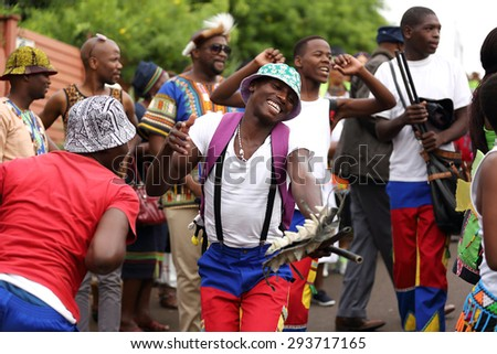 DURBAN, SOUTH AFRICA - April 5: Traditional Zulu dancers perform at a ceremony in Kwa Zulu Natal, South Africa on April 5, 2015.  - stock photo