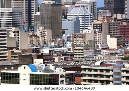 DURBAN, SOUTH AFRICA - MARCH 28, 2014: Closeup of residential and commercial buildings in city center in Durban South Africa