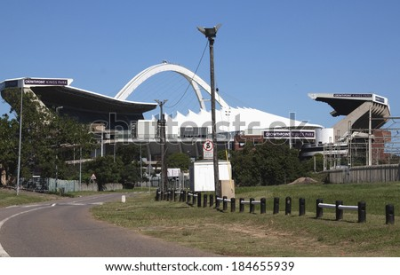 DURBAN, SOUTH AFRICA - MARCH 28, 2014: Growthpoint Kings park Rugby stadium in front of the  Moses Mahbida Football Stadium in Durban South Africa