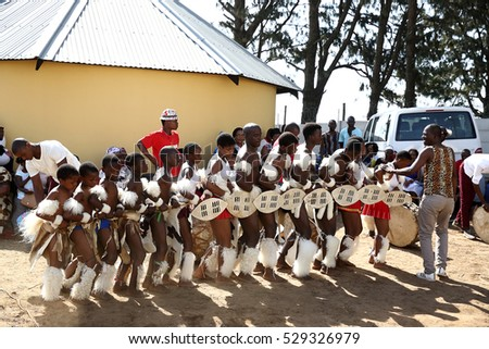DURBAN, SOUTH AFRICA - October 22: Zulu dancers perform at a traditional Zulu wedding ceremony in Kwa Zulu Natal, South Africa on October 22, 2016.