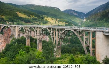 Durdevica arched Tara Bridge over green Tara Canyon - Montenegro. - stock photo