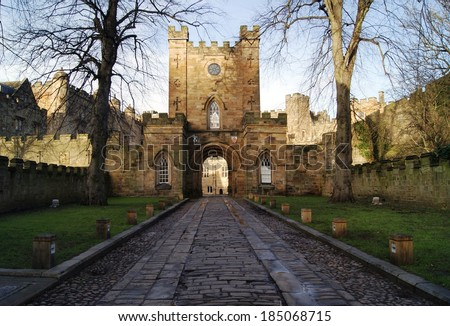 Durham Castle University Entrance with Road towards Great Gate - stock photo