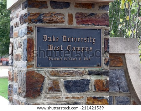 DURHAM, NC  AUGUST 8: The An entrance to Duke University located in Durham, North Carolina on August 8, 2014. Duke is a private research university considered one of the top universities in the US. - stock photo