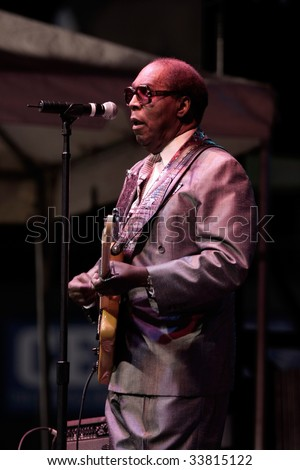 DURHAM, NORTH CAROLINA-SEPT 19:Clarence Carter performs on stage at Durham Blues Jazz Festival on Sept 19, 2008 in Durham, North Carolina. - stock photo