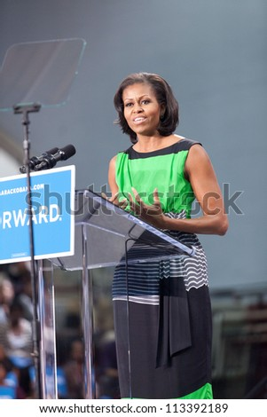 DURHAM, NORTH CAROLINA - SEPT 19: First lady Michelle Obama swings through Durham for a campaign rally at North Carolina Central University. Durham, North Carolina on September 19, 2012. - stock photo