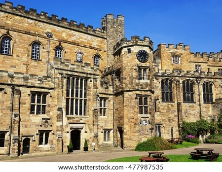 DURHAM, UNITED KINGDOM - A Norman castle originally built in the 11th century, the Durham Castle is part of University College, Durham. With the Durham Cathedral, it is a UNESCO World Heritage Site.