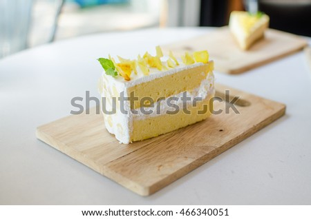 Durian cake on wood plate