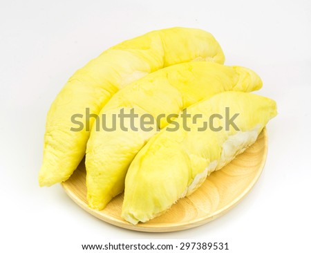 durian in wooden plate on white background