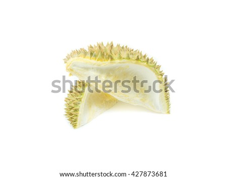 durian shell, Thorns of durian on white background - stock photo