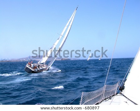during a regatta in Canaries - stock photo