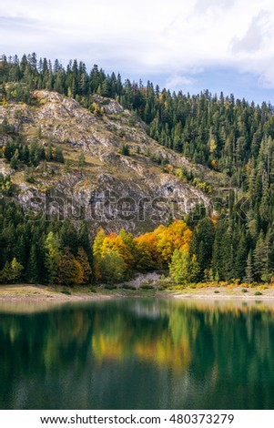 Durmitor National park black lake reflection view