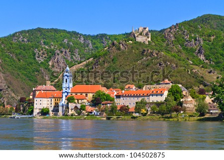 Durnstein is one of the most visited tourist destinations in the Wachau region and also a well-known wine growing area. - stock photo