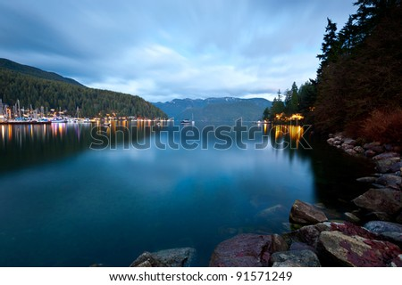 Dusk at Deep Cove, North Vancouver, Canada - stock photo