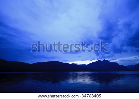 Dusk at Lake McDonald - stock photo