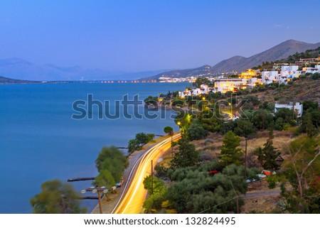 Dusk at Mirabello Bay on Crete, Greece - stock photo