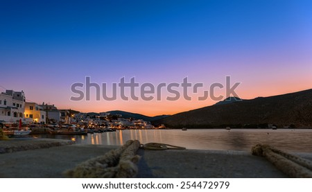 Dusk at Panormos village, in Tinos island, Greece  - stock photo