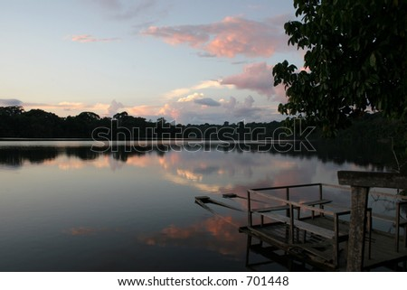 Dusk at Sandoval oxbow lake, near Puerto Maldonado, Peru (Amazon) - stock photo