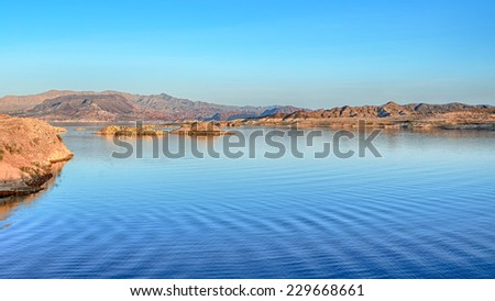 Dusk at Sunset View Overlook, Lake Mead National Recreation Area, Nevada - stock photo