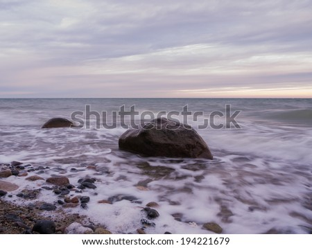 dusk at the Baltic Coast of Ruegen Island in Germany