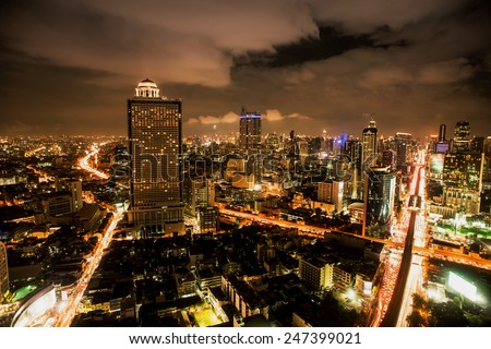 Dusk at the Douro river in cities of Porto and Vila Nova de Gaia in Portugal.,Bangkok Expressway and Highway top view, Thailand   - stock photo