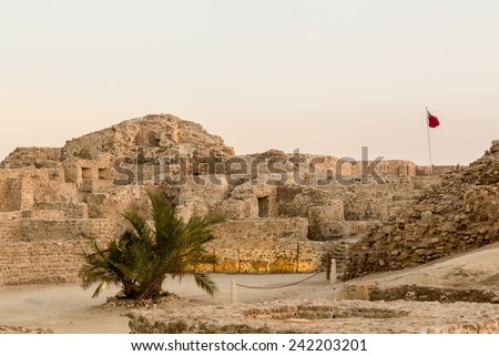 Dusk at the recontructed Bahrain Fort near Manama at Seef, Bahrain - stock photo