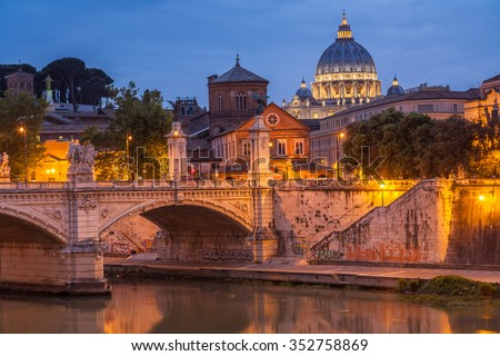 Dusk at the Vatican City. - stock photo