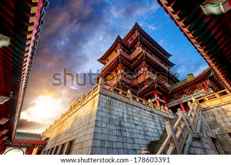 Dusk Chinese ancient buildings under the sky background (Nanchang Poetic) - stock photo