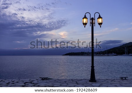 Dusk colors over the sea at Syvota village, Greece
