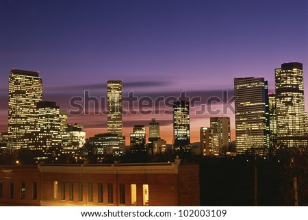 Dusk falling on Denver, CO - stock photo
