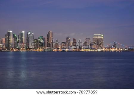 Dusk falls on the city of San Diego, California. - stock photo