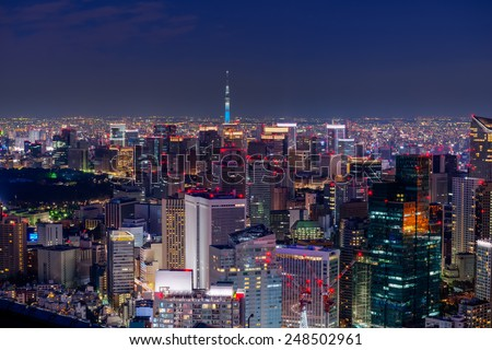 Dusk falls over the Tokyo cityscape, with Tokyo Sky Tree seen in the far distance. - stock photo
