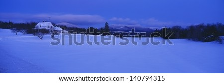 Dusk in Lyndonville at Darling Hill Road and Mount Burke, Vermont, USA - stock photo