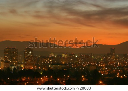 Dusk in Santiago, Chile