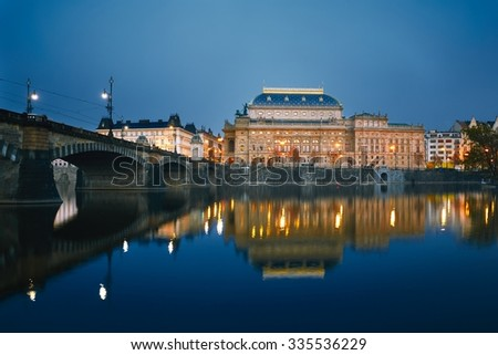 Dusk in the city - National Theatre in Prague, Czech Republic - stock photo