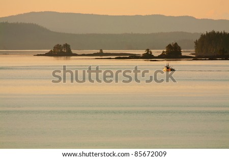 Dusk In the Gulf of Alaska Wilderness - stock photo