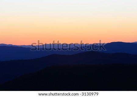 dusk on skyline drive - stock photo