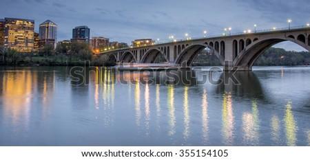 Dusk over Key Bridge and Rosslyn, Washington DC, USA - stock photo