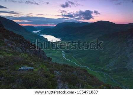 Dusk over Lake Buttermere in the English Lake District. - stock photo