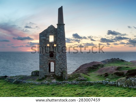 Dusk over Wheal Owles at Botallack on the Cornish coast