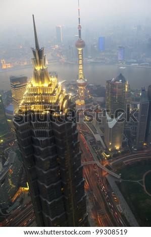Dusk overlooking the Shanghai panoramic - stock photo