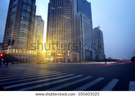 Dusk, Shanghai Pudong road - stock photo