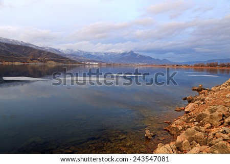 Dusk sky above a lake, Utah, USA. - stock photo