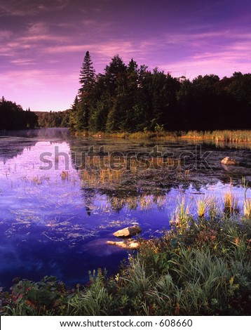 Dusk sky over a small pond. - stock photo