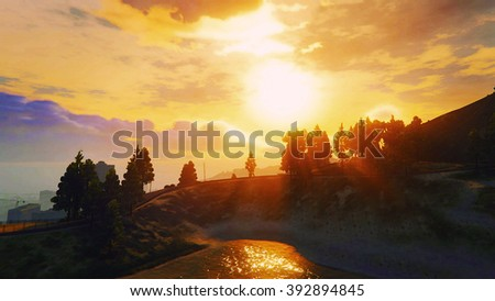 Dusk sunset and trees in the road beside the lake 3D illustration - stock photo