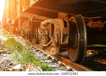 Dusk, train. - stock photo