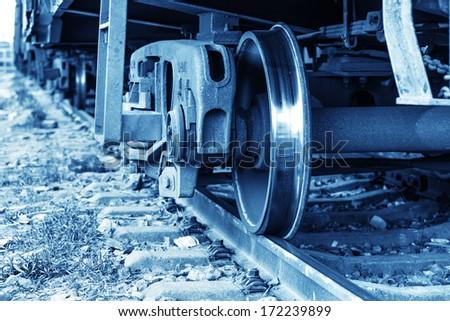 Dusk, train. - stock photo